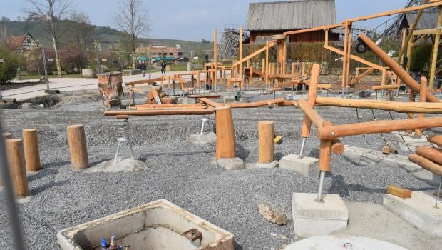 Tripsdrill Sägewerk Abenteuerspielplatz Baustelle klettern