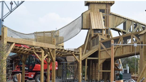 Tripsdrill Sägewerk Abenteuerspielplatz Baustelle Kletterturm