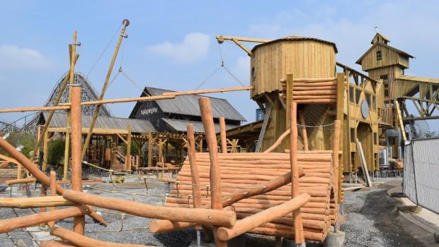 Tripsdrill Sägewerk Abenteuerspielplatz Baustelle Thematisierung Mammut