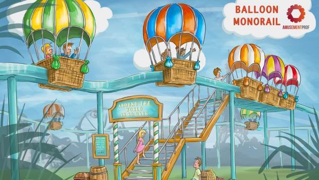 BillyBird Park Drakenrijk Artwork Ballonbahn Einschienenbahn