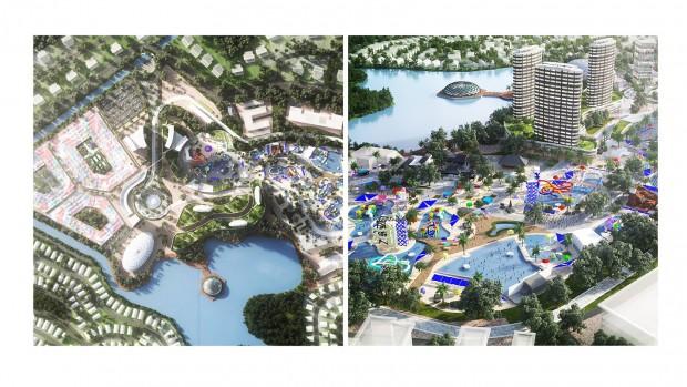Malaysia Tourism City Konzeptgrafik mit Wasserpark