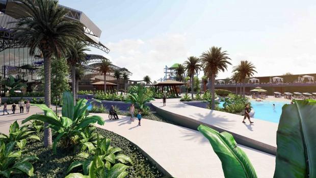Zagame's Water Park bei Melbourne Außenansicht mit Palmen