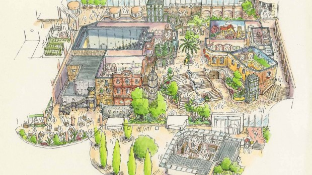 In diesem Bereich soll es Geschäfte, Restaurant und Räume für Ausstellungen geben. (Foto: Studio Ghibli)