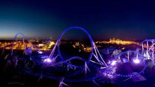 Blue Fire Nacht Panorama Europa-Park